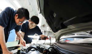 Mechanics doing an Engine Diagnostic