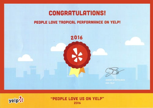 Tropical Performance Yelp certificate